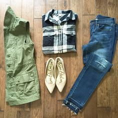 fall layers, plaid + denim