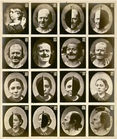 Duchenne investigated facial expression in a crude but effective manner of 'shocking' the facial muscles using galvanic current G. Duchenne de Boulogne, Synoptic plate 4 from Le Mécanisme de la Physionomie Humaine. Charles Darwin, Medical Photography, Modern Photography, Vintage Photography, Psychology Experiments, Insane Asylum, Facial Muscles, Psy Art, Triptych