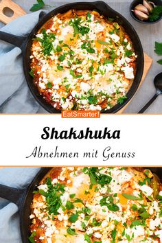 Shakshuka mit Tomaten und Zucchini – smarter – Kalorien: 522 kcal – Zeit: 25 Min… Shakshuka with tomatoes and zucchini – smarter – calories: 522 kcal – time: 25 min. Salad Recipes, Diet Recipes, Healthy Recipes, Vegetarian Recipes, Cooking Recipes, Healthy Weeknight Dinners, Easy Meals, Menu Dieta, Easy Dinner Recipes