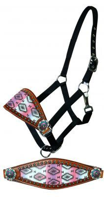 Dark Horse Tack is proud to offer... Showman ® Adjustable nylon bronc halter with pastel Navajo diamond noseband. This halter features a wide bronc style noseband with a pastel Navajo print design. No