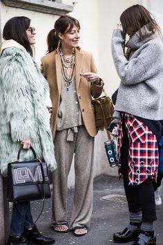 whole lotta cool right there. #ChiaraTotire #AuroraSansone & #CarlottaOddi in Milan.
