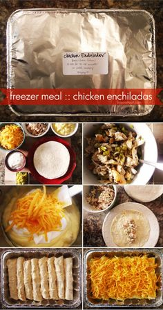 """Freezer Meal: Chicken Enchiladas Family Dinner Recipe from Live Craft Eat """"Try out this simple chicken enchiladas recipe with sour cream, one of the best I've found, for a great meal. Cook them day of or freeze them for future use. Chicken Freezer Meals, Freezer Friendly Meals, Make Ahead Freezer Meals, Chicken Recipes, Freezer Cooking, Freezer Meal Recipes, Freezable Dinners, Meals Easy To Freeze, Cooking Time"""