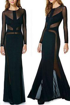 Black Mesh Cutout Maxi Dress MAVERLLY