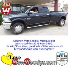 Potential holiday card? Stephen is all smiles after heading home in a spectacular Ram 3500! Congratulations! 🎉  #wow #wowwoodys #woodysautomotive #cars #trucks #suvs #carsforsale #trucksforsale #suvsforsale #kansascity #chillicothe #customerreviews #customertestimonials #wowcarbuying #carshopping #happycustomers #2016ram3500 #2016ram #ram3500 #ram #3500