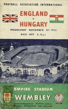 Man City 3 Birmingham City 1 in May 1956 at Wembley. The programme cover for the FA Cup Final. Pure Football, Football Match, Football Team, Retro Football, Image Foot, Challenge Cup, Fa Cup Final, Preston North End, Posters