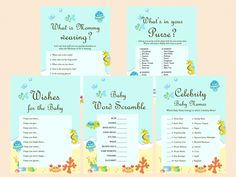 Under the Sea Baby Shower Game Printables, Beach Baby Shower Game Pack, Instant Download, Sea Animals Theme, Beach Theme Game Printables
