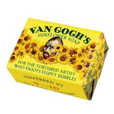 """Vincent Van Gogh Sunflower Soap """"For the tortured artist who enjys fluffy bubbles"""" The Unemployed Philosophers Guild Vincent Van Gogh, Jeff Koons, Collages, Van Gogh Sunflowers, Ministry Of Magic, Art Hoe, Mellow Yellow, Soap Making, Mood Boards"""