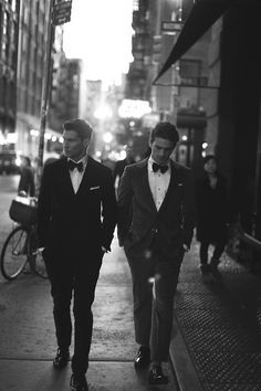 don't know if it's the black and white, the handsome men, or their ensembles but this picture is working for me.