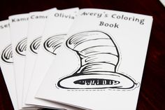 LOVE all these ideas for Cat in the Hat birthday party, especially the coloring books! Cat in The Hat Coloring Books by foodiebride, via Flickr