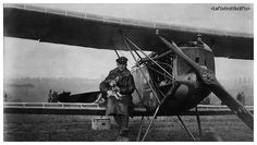 Fokker D.VII German pilot and pup, 1918. Note the damaged propeller from the machine gun synchronization gear failure.
