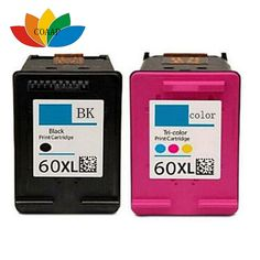 2 Pcs Compatible HP 60 XL ink cartridge for HP Deskjet F2480 F2420 F4480 F4580 F4280 D2660 D2530 D2560 PhotoSmart C4680 printer