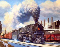Zug Illustration, Train Drawing, Old Trains, Vintage Trains, Train Posters, Railroad History, Rail Transport, Steam Railway, Bonde