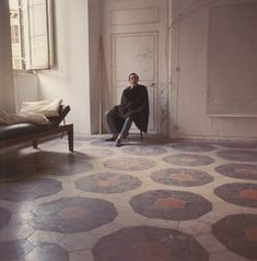 it's all about the tile!! Cy Twombly at home in Rome, by Horst P.Horst for Vogue (1966)