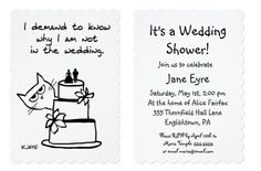 Funny wedding shower invitation for cat lovers - fully customizable.