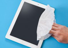 Clean device screens with coffee filters instead of paper towels to prevent scratches.