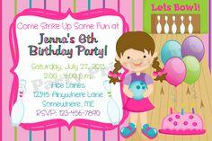 Girl bowling birthday invitations.