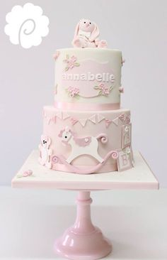 vintage baby girl shower cake