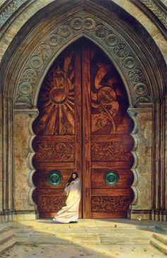 """""""The Doors of Obernewtyn"""" by Donato Giancola (One of my all time favorite works of fantasy art. Donato is an amazing talent! Cool Doors, The Doors, Unique Doors, Windows And Doors, Front Doors, Arched Doors, Door Knockers, Door Knobs, When One Door Closes"""