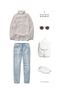 Casual outfit; jeans+turtle neck sweater #ootd