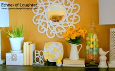 Echoes of Laughter: Bright and Colorful Spring Mantel