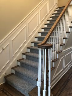 Anderson Tuftex Stroll stair runner. Love it! Foyer Staircase, Carpet Staircase, Stair Runners, Stairways, Room Interior, Basement, Entryway, New Homes, Rooms