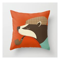 Country Badger Throw Pillow ($20) ❤ liked on Polyvore featuring home, home decor, throw pillows, animal throw pillows, country style home decor, country home decor, country throw pillows and farmhouse home decor