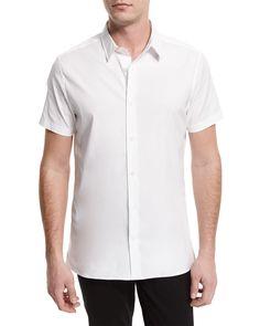 Manhattan Short-Sleeve Stretch Shirt, White - Vince