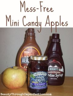 Mini Candy Apples. Love the recipe idea and how it doesn't end up all over the face! ;)