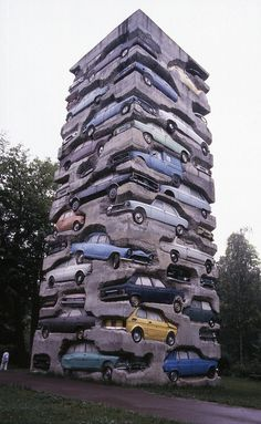 Arman (1928-2005) Long Term Parking - Automobiles embedded in concrete, Yvelines, Ile-de-France, FR