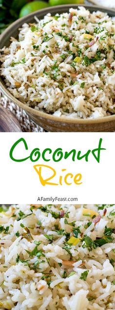 Coconut Rice - A simple, flavorful and versatile side dish! Great with Asian or Mexican dishes. Fried Rice, Indian Food Recipes, Chinese, Fries, Canning, Indian Recipes, China, Chinese Language, Preserve