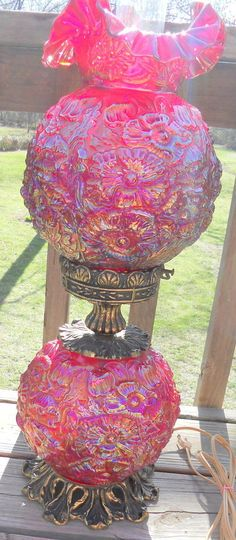 VINTAGE FENTON RARE GONE WITH THE WIND LEVAY RED CARNIVAL POPPY PATTERN LAMP