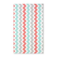 Coral Aqua Grey Chevron Pattern Area Rug by DreamingMindCards - CafePress Coral Rug, Coral Chevron, Chevron Monogram, Discount Bedroom Furniture, Grey And Coral, Jewelry Chest, Fabric Rug, My New Room, Throw Rugs