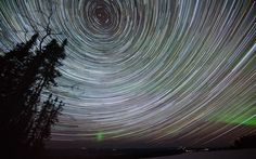 Star trails and northern lights are captured using a 100-minute exposure in Fairbanks, Alaska. Photographer Eric Cheng says: I timed our stay in Alaska with the new moon and spring equinox to maximise the chances of dark skies and auroral activity.  We were very lucky one night and had intense auroral activity.  Most of the sky was glowing green, with bright bands dancing across it.
