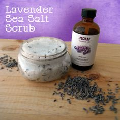 Lavender Salt Scrub Ingredients:  18 ounces of Fine Sea Salt  2 ounces of Sunflower Oil  2 ounces of Vegetable Glycerin  1/2 Tablespoon of Lavender Lavender Essential Oil  1 Tablespoon of Dried Lavender Buds  Simply mix all of the ingredients together to make this fabulous lavender sea salt scrub. Spoon your scrub into your container and whaa-laa you are done.