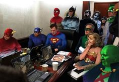 The original photograph showed Obama awaiting updates on Bin Laden with his most elite staff. The meme has Obama as (duh!) Captain America, along with the whole Justice League (and the Joker to boot) and Hillary Clinton as Wonder Woman. Political Memes, Politics, Trommler, Snl Skits, Cool Pictures, Funny Pictures, Funny Pics, Mary Sue, Relay For Life