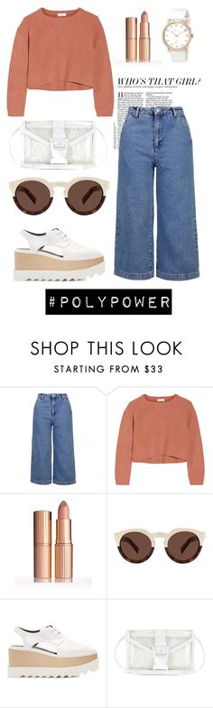 """""""Who's That Girl?"""" by styled-by-mimi ❤ liked on Polyvore featuring Topshop, Brunello Cucinelli, Illesteva, STELLA McCARTNEY, Christopher Kane, Marc by Marc Jacobs and PolyPower"""
