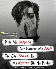 Bad Words Quotes, Bad Boy Quotes, Crazy Girl Quotes, Funny Girl Quotes, Shyari Quotes, Hindi Quotes, Thug Life Quotes, Attitude Quotes For Boys, Attitude Status