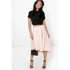 Boohoo Night Honey Dip Hem Bonded Scuba Skater Skirt ($26) ❤ liked on Polyvore featuring skirts, blush, midi skater skirt, white knee length skirt, midi skirt, white midi skirt and white skirt
