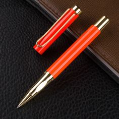 High Quality Orange Color Business Cute Office Supplies Gel Pens Executive  Luxury Writing Refill Metal Roller