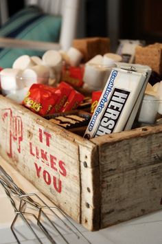 soda bottle crate as s'more buffet- Sunday Treat Night