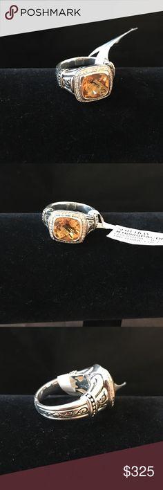 Scott Kay SS/Citrine/Diamond Ring Scott Kay Sterling Silver Beautiful Citrine & Diamond Ring.  Exquisite carving around the ring.  NWT from smoke and pet free environment. Scott Kay Jewelry Rings
