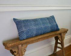 36 inch long lumbar pillow in indigo batik stripes. Pillow Headboard, Sofa Pillows, Lumbar Pillow, Throw Pillows, Navy Blue Pillows, Bedroom Decor On A Budget, Long Pillow, Bed Design, Painted Furniture