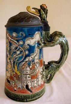 Mettlach Etched St. Florian Beer Stein Dragon Thumb lift #1786