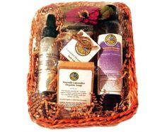I want this!!!   Inside this keepsake basket, you will find an 8 oz. Lavender Dreams Organic Bath & Shower gel, 5 oz. Organic Lavender Dreams Bath Salts, 3.5 oz. bar of Lavender Dreams Organic Soap and a 2.5 oz. Lavender Dreams Organic Aromatherapy spray and an 8 oz. Lavender Dreams Soy Candle.  All organic, all Lavender - the most relaxing fragrance available.    Moonlit Lavender Organic Soap Bar   This fragrance is pure lavender essential oil – a natural relaxant. With organic comfrey root…