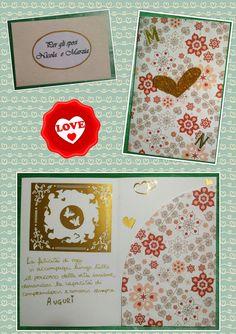 biglietto auguri matrimonio sposi cuori fiori portasoldi