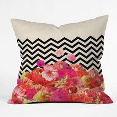 Bianca Green Chevron Flora 2 Throw Pillow by DENY Designs at Gilt Modern Throw Pillows, Outdoor Throw Pillows, Decorative Pillows, Diy Pillows, Accent Pillows, Black Pink, Green Chevron, Home Interior, Floral Motif