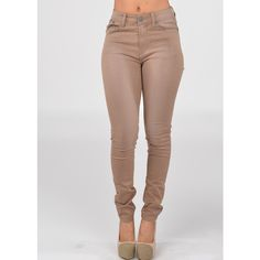 Fashion jeans- Cute high waist jeans- beige skinny jeans ($20) ❤ liked on Polyvore featuring jeans, pants, bottoms, high rise skinny jeans, high waisted denim skinny jeans, skinny leg jeans, cut skinny jeans and denim skinny jeans