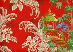 Red chinoiserie wallpaper