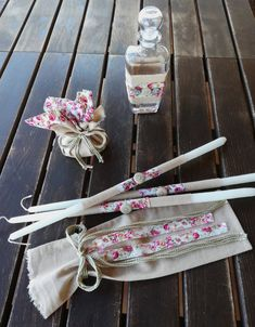Baptism/Christening Oil Set/Ladoset/Set of Three Candles, Oil Bottle, Soap/Greek Orthodox Baptism Fabric Ribbon, Floral Fabric, Linen Fabric, Oil Candles, Oil Bottle, Some Ideas, Keepsake Boxes, Christening, Sweet Home