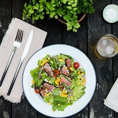 Chipotle-Coffee Steak Salad With Grilled Corn and Tomatoes / Photo by Chelsea Kyle, Prop Styling by Alex Brannian, Food Styling by Anna Hampton Best Salad Recipes, Beef Recipes, Mexican Food Recipes, Cooking Recipes, Ethnic Recipes, Whole30 Recipes, Recipies, Salad Bar, Soup And Salad